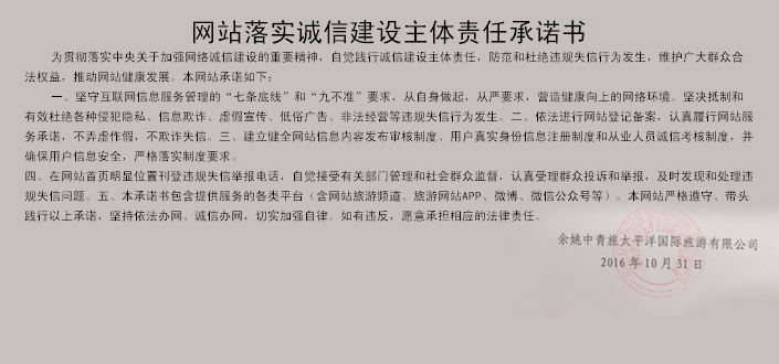 网站落实诚信建设主体责任承诺书